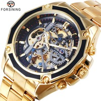 FORSINING Men Watches Top Brand Luxury Skeleton Auto Mechanical Stainless Steel Strap Transparent Punk Waterproof Metal