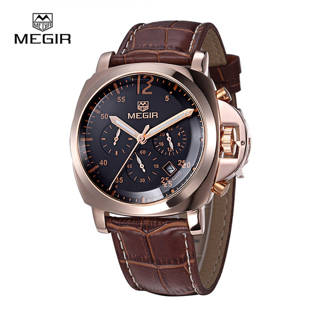 Megir man fashion quartz watch waterproof wristwatch genuine leather band wrist watch quartz watch men 3006