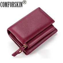 COMFORSKIN The First Layer Of Leather Women's Wallet Hot Brand Multi-function Short Style Women Hasp Purse New Arrivals Wallets стоимость