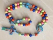 New Cartoon Jesus Cross Pendant. Handmade Braided Rope Colored Rosary Necklace Child Girl Catholic Fashion Religious Jewelry