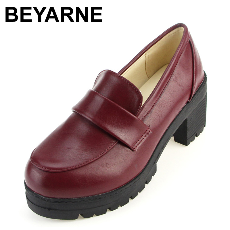 BEYARNE NEW Thick with round head Students shoes Japanese school uniforms Japanese institute style COS joker universal japanese daiso