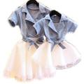 Caliente vestidos de verano de manga corta vestido a juego de la familia de madre e hija ropa de algodón vestido de madre e hija familia clothing