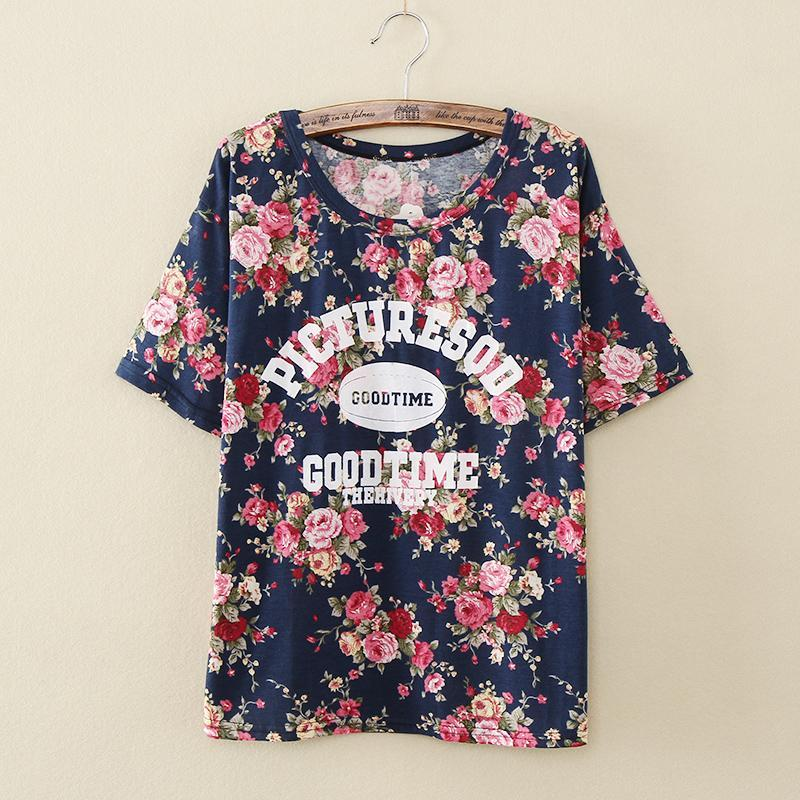 Vintage Women Summer Floral T Shirt Students Casual T
