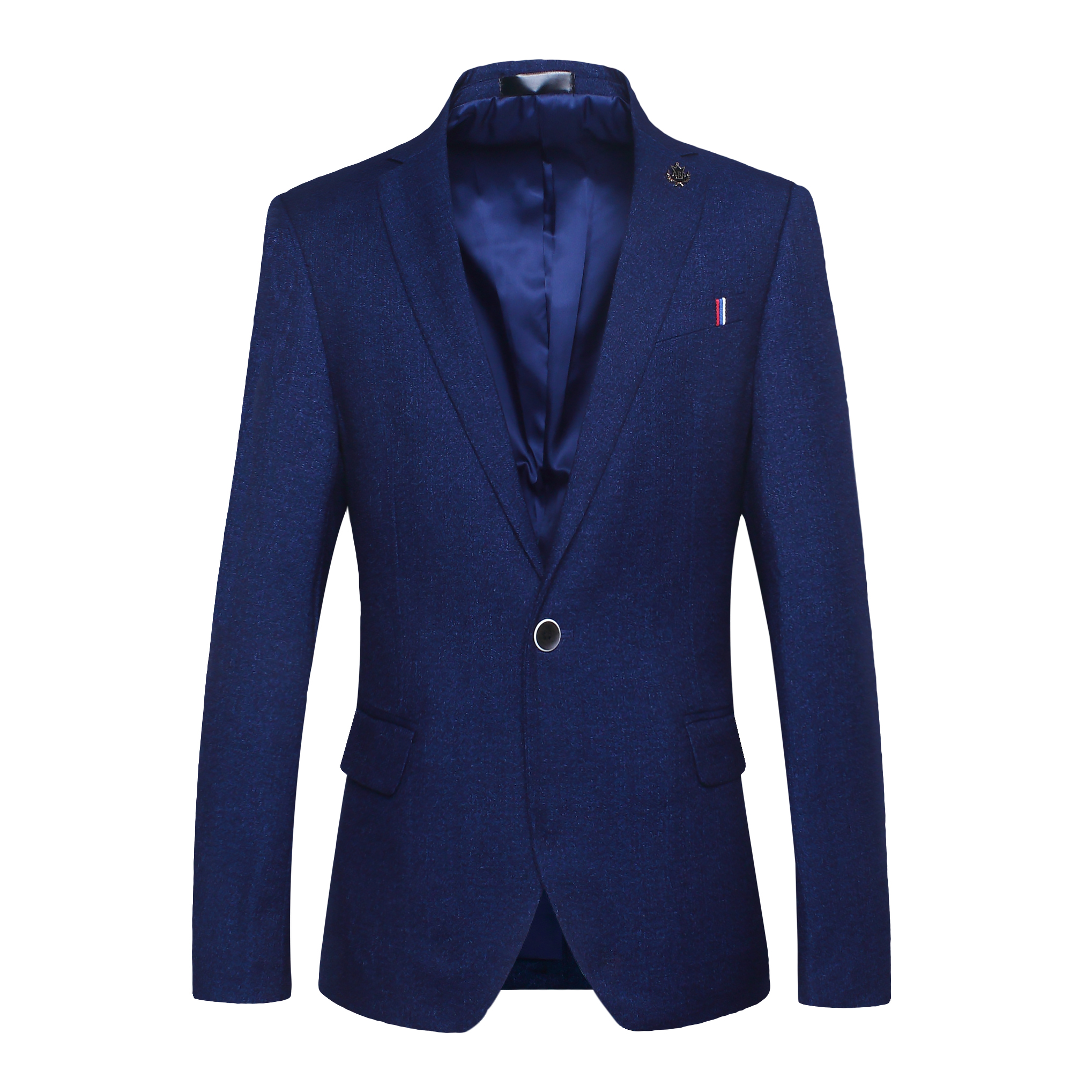 BROWON Casual Blazer Men Slim Fit Solid Color Badge Design Cool Party Gentleman Suit Blazer for Men Regular Jacket for Men