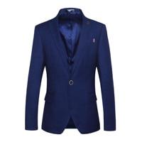 BROWON Casual Blazer Men Slim Fit Solid Color Badge Design Cool Party Gentleman Suit Blazer for Men Regular Jacket for Men