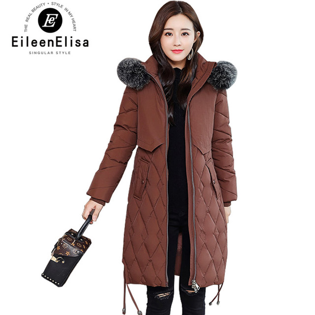 Eileen Elisa 2018 mujer Outwear Chaqueta larga chaqueta de invierno con  capucha Parkas hollister señora Parka b36329d4cc80