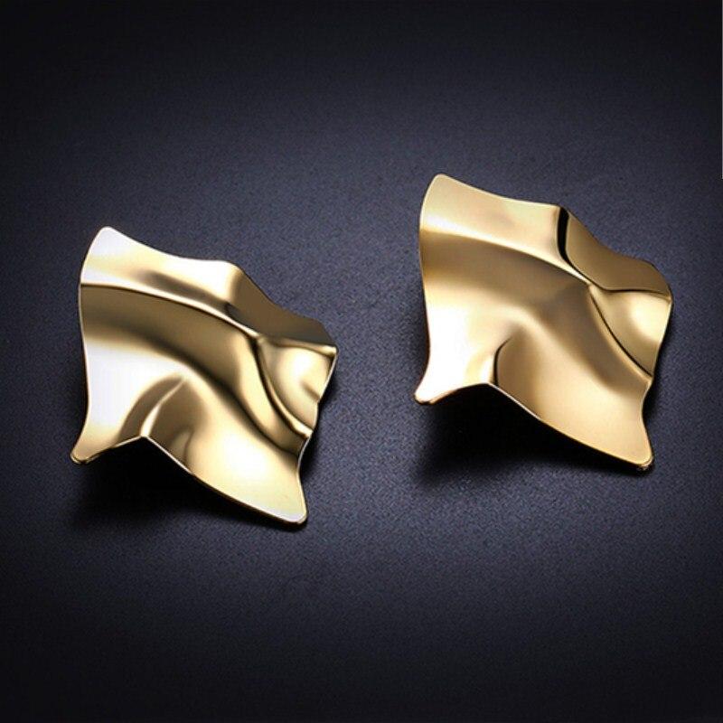 EK2126 Exaggerated Brand Gold Color Irregular Square Shiny Metal Big Drop Earrings Women Rhombus Punk Earrings Party Jewelry 4