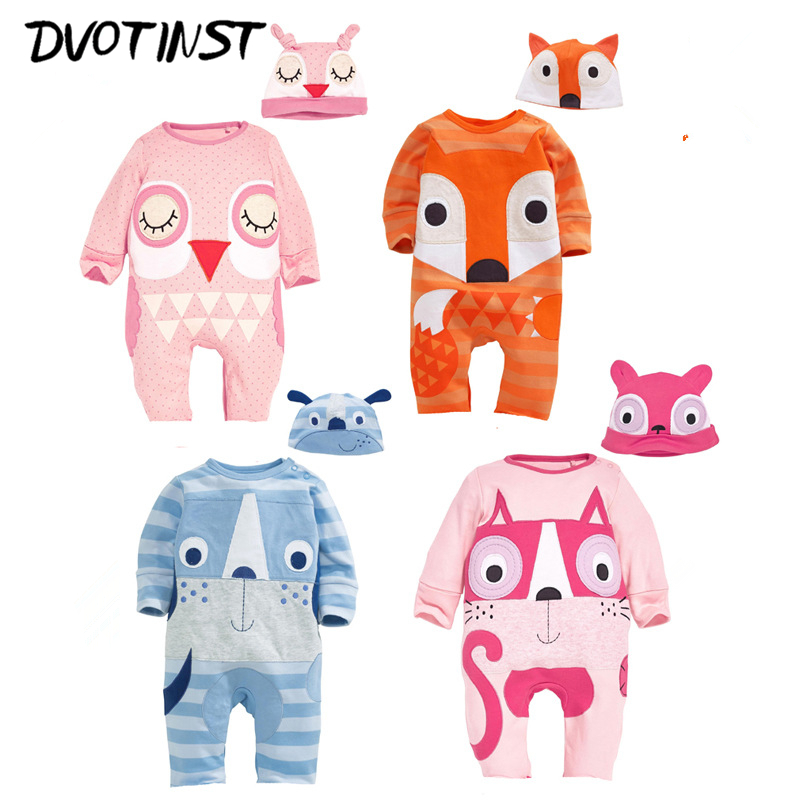 Baby Boys Girls Clothes Full Sleeves Animals Fox Dog Owl Halloween Rompers+Hat 2pcs Set Jumpsuit Outfit Infantil Toddler Costume