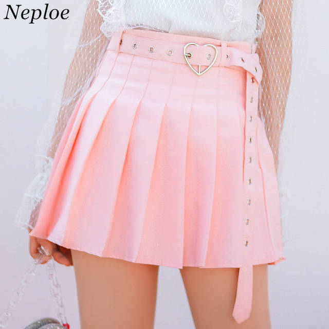 073d766e6 Neploe Pleated Skirts Harajuku Mini Skirt Solid A-line Loving Heart Ring  Sashes Skirt Japanese Soft Sister Sweet Skirts 35542
