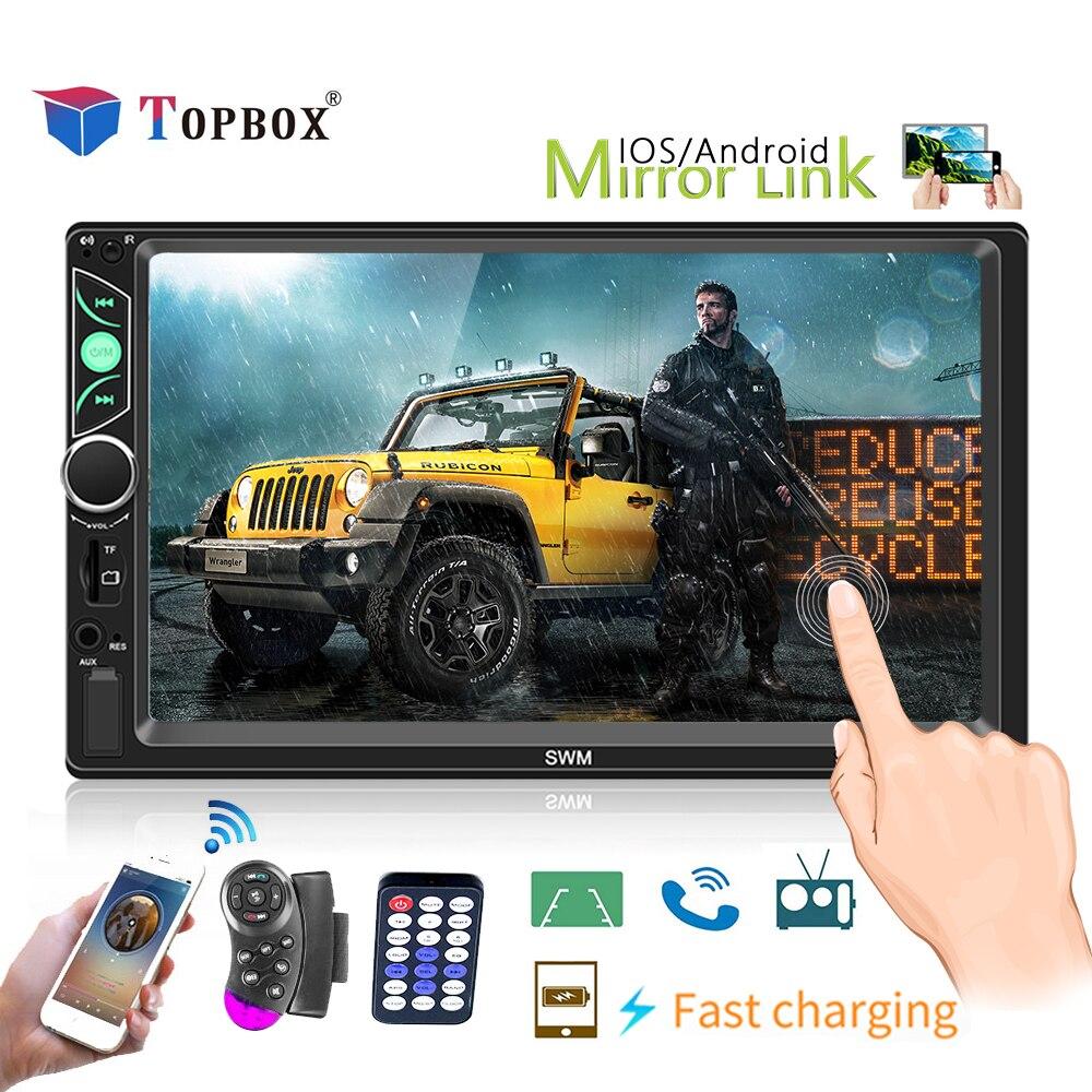 Topbox 2 DIN Autoradio 7 pouces HD Autoradio FM/TF/USB stéréo Radio miroir lien Bluetooth écran tactile roue contrôle caméra