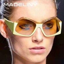 5fa00a1edee0a MADELINY Personalidade Polígono Irregularidade Dois-cor Mulheres Quadrados  Óculos De Sol Clássico Óculos de Sol Do Vintage 2018 .