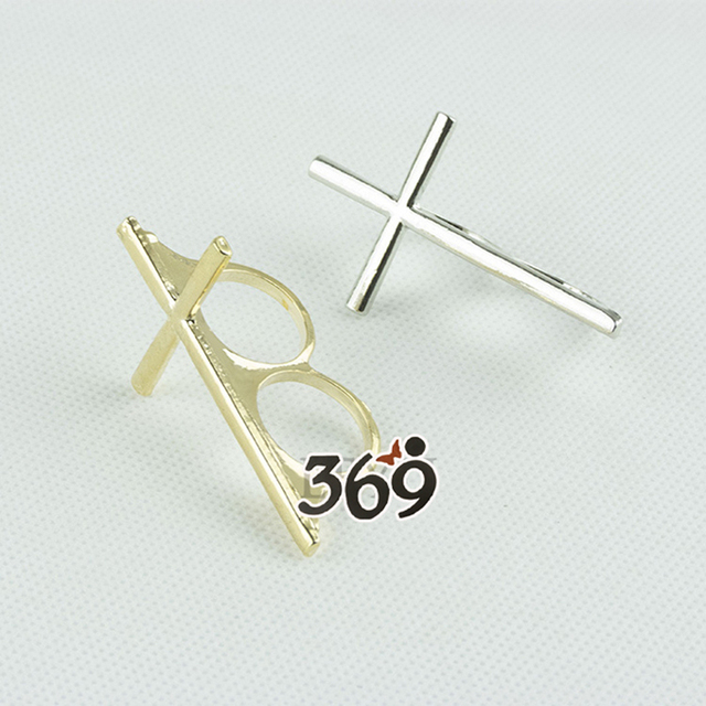 Wholesale the latest fashion cross double rings Finger Ring for female