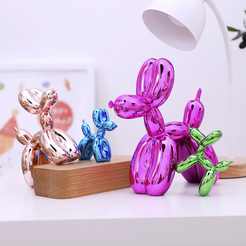 Jeff Koons Shiny Balloon Dog Abstract Crafts Resin Statue Home Decor Art Sculpture Decoration Accessories