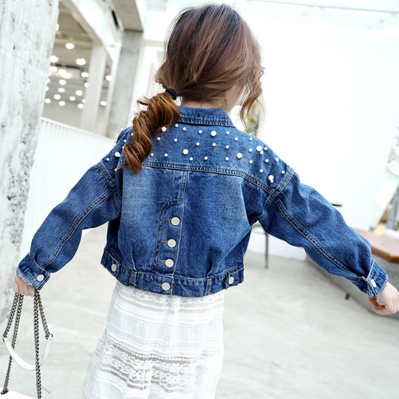 Beading Kids Denim Jacket Baby Girls Clothes 2019 Spring Jean Outerwear Single-breasted Short Cowboy Coat Casual Jaquetas Y959 50% OFF