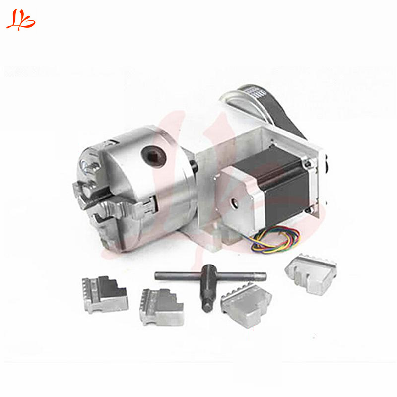cnc router 4 jaw Chuck hollow shaft 100mm CNC 4th axis for engraving machine