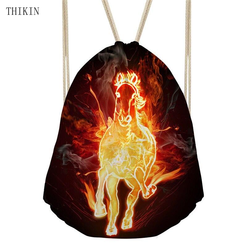 THIKIN Bag Beach Women's Horse Printed Waterproof Backpack Sports Bags Shopping Drawstring Pouch Kids Girls Logo Custom Bolsos