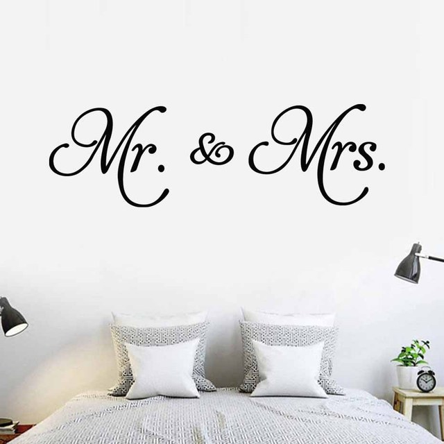 Mr Mrs Quote Wall Sticker Romantic Love Quotes Wall Decal Vinyl