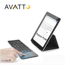 [AVATTO] A18 Bolsillo Dos Veces Plegable Mini Teclado de Metal Plegable Bluetooth Teclado Inalámbrico con Touchpad para el iphone, Tablet, ipad, PC