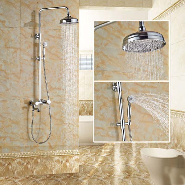 Chrome Brass Wall Mounted 8'' Shower Faucet Valve Mixer Tap with Hand Shower Sprayer Mixer Tap china sanitary ware chrome wall mount thermostatic water tap water saver thermostatic shower faucet