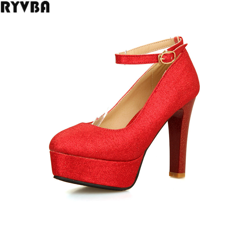 2a3bf983ff8 ᗔRYVBA woman sexy thick high heels pumps womens fashion ankle strap ...