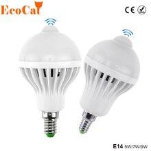 E14 LED PIR di Movimento Lampadina del Sensore di 5W 7W 9W 110V 220V Ha Condotto La lampada Auto Smart led PIR Infrarosso del Sensore di Movimento Del Corpo di Luce