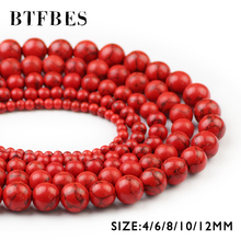 BTFBES Round Shape Natural Red Veins Beads Color Stone Loose Bead For Jewelry Making DIY Accessories Bracelets 4/6/8/10/12mm