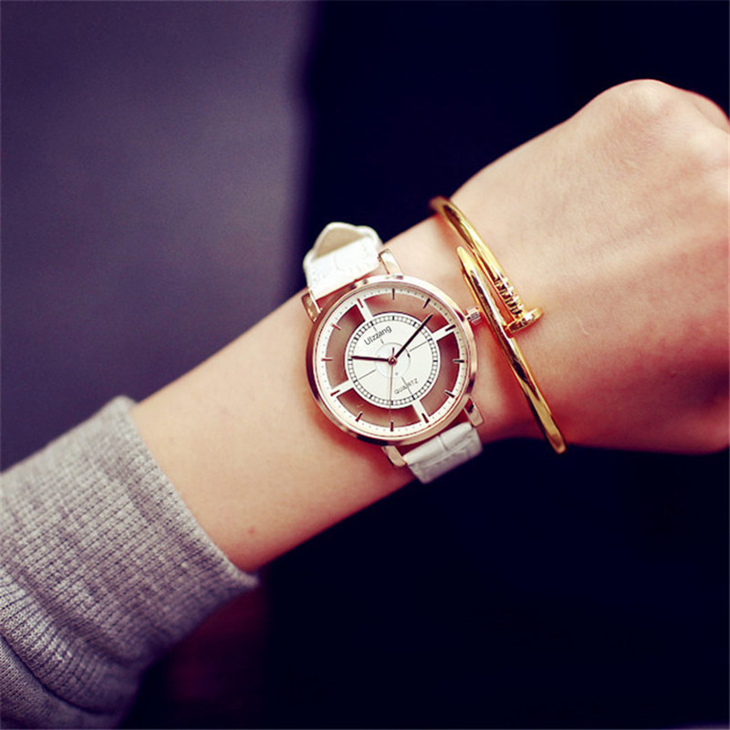 Leather Wristwatches 2017 New Women Vintage Leather Strap Watches Classic Retro Quarts Women'S Slim Watches