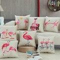 Watercolor Flamingos Pillow Cover  Lover Home Decor Linen Cotton Cushion Cover Decorative Throw Pillows Pillowcase Sofa Pillow