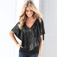 Summer Style Women S Sexy V Neck T Shirt Shiny Sequins Short Sleeved Women Casual Top