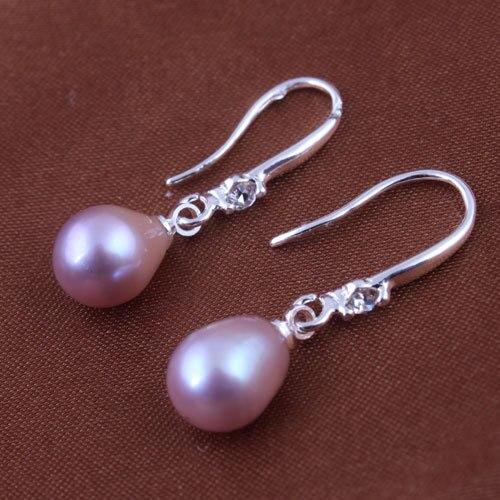 56e80a92f5ec 100% genuino de agua dulce perla Pendientes de gota rhinestone Pendientes  para las mujeres cuelgan la plata