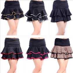 Женская юбка для латинских танцев, короткое черное бальное платье с оборками/Танго/Самба/Сальса/латинское танцевальное платье, дешевая