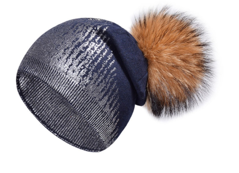 B19903 ladies raccoon beanie winter hats girls Metallica hats real fur raccoon brown pompom winter shiny hat