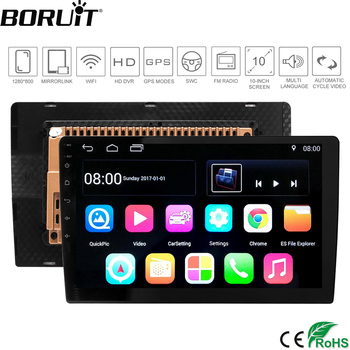 "BORUiT Android 7.1 Universal Car Radio 10.1"" Car GPS Navigation BT 2 din Car DVD Player WIFI MP5 Player 1080P HD Touch Screen"