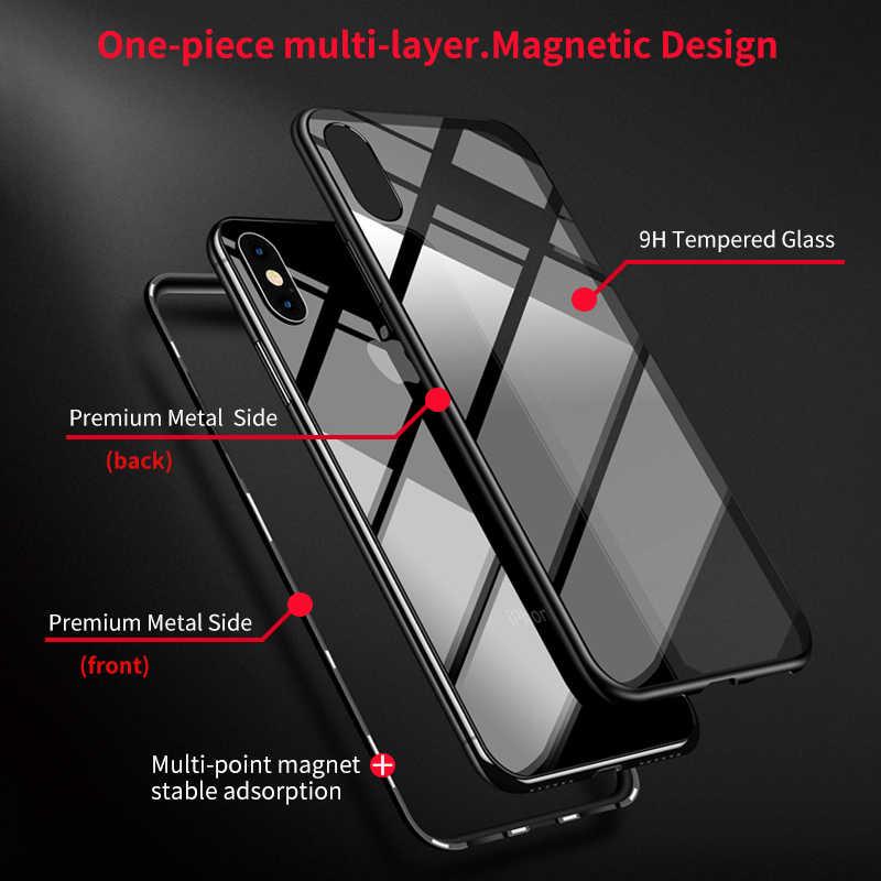 IHaitun Luxe Magnetische Glas Case Voor iPhone 11 Pro Max XS MAX XR X Gevallen Magneet Flip Back Cover Voor iPhone X 10 7 8 Plus Telefoon