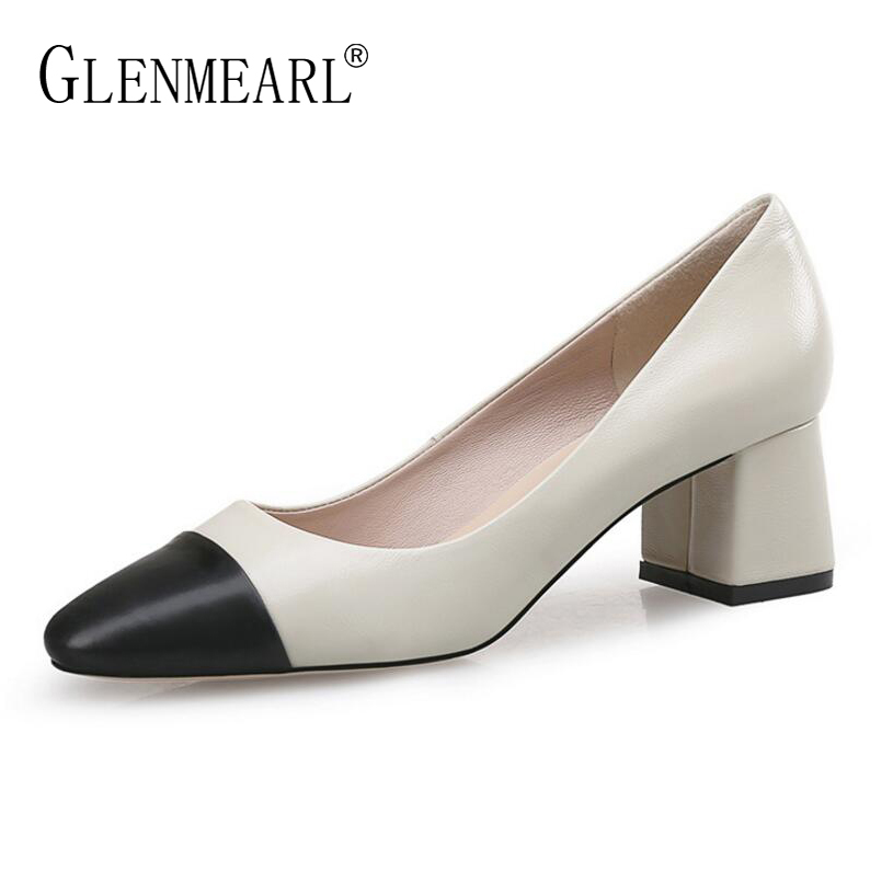 Genuine Leather Women Shoes High Heels Pumps Brand Spring Thick Heel Dress Shoes Office Lady Color Mix Round Toe Party Shoes DO new spring fashion brand genuine leather sweet classic high heels women pumps shallow thick heel mary janes lady causal shoes