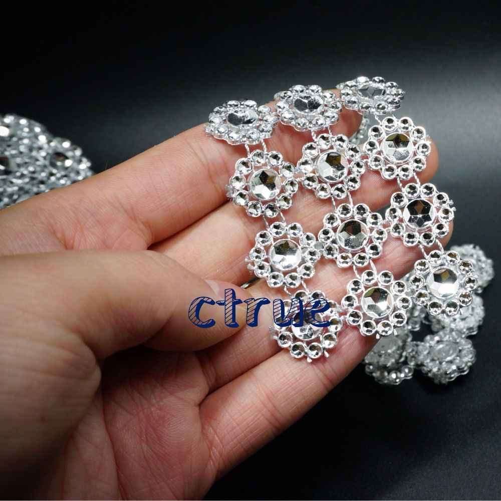 Silver 1Yards 3rows Daisy Flower Diamond Mesh Bling Crystal Ribbon Wrap Trim Wedding Cake Candle Holder Decoration