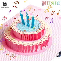 Retro Postcards Handmade Colour 3D Pop UP Origami Musical Greeting Cards Birthday Paper With Mini Gift