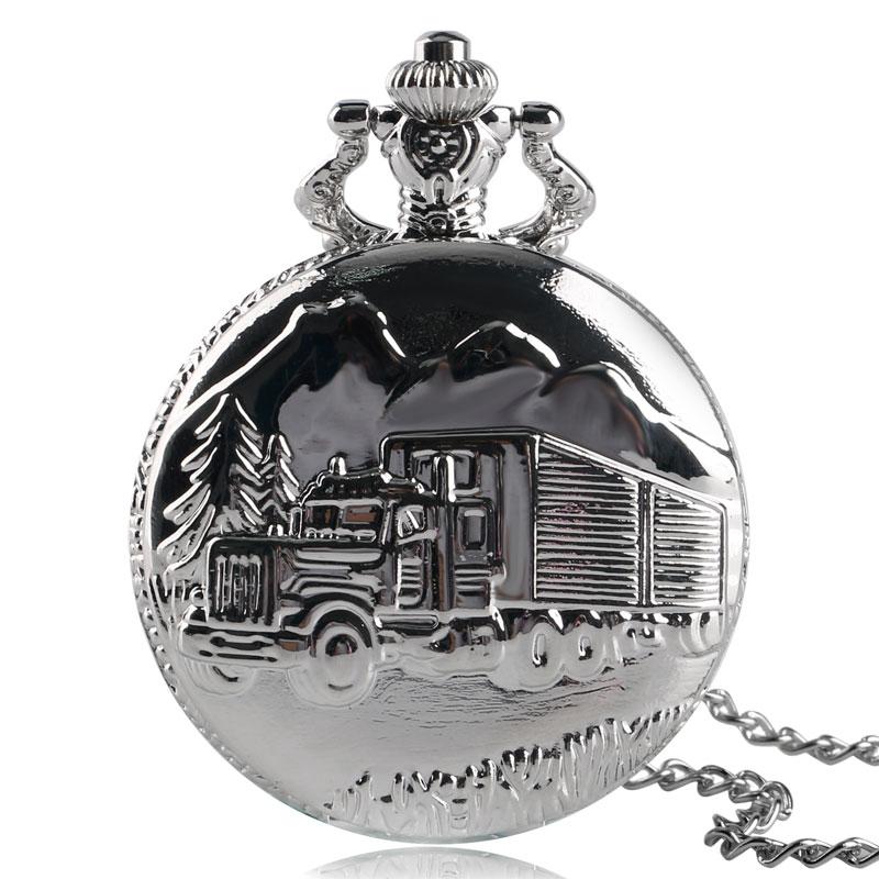 Retro Silver Truck Lorry Quartz Pocket Watch Necklace Men Women Children Antique Van Modern Vintage Fashion Steampunk Gift