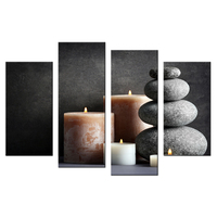 4 Panels Contemporary Home Decor Black And White Painting Zen Stone And White Candles HD Printed