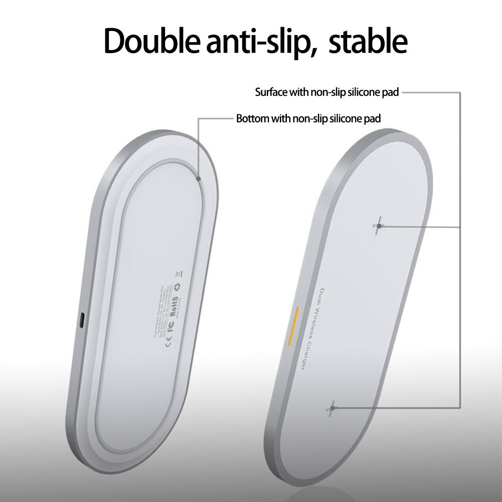 Image 2 - 2 in 1 Mobile Phone & Earphone Wireless Fast Charger Anti slip Wireless Charging Adapter for iPhone AirPods Air Pods-in Mobile Phone Chargers from Cellphones & Telecommunications