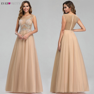 Image 2 - Elegant Prom Dresses Ever Pretty Sexy Pink Beaded V neck A line Illusion Evening Party Gowns EP00901 Gala Jurken Dames 2020