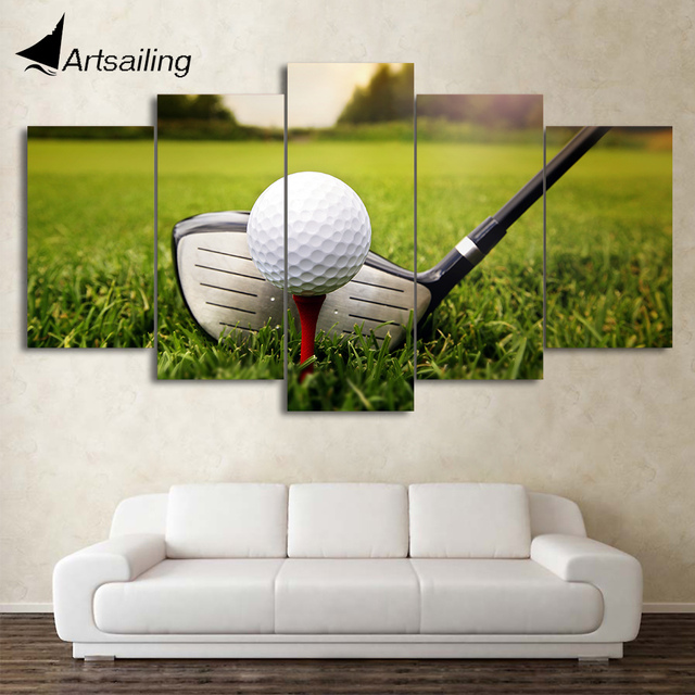 HD Printed 5 Piece Canvas Art Golf  Course Painting Clubs Wall Pictures Decor Framed Modular Painting Free Shipping CU-2094B