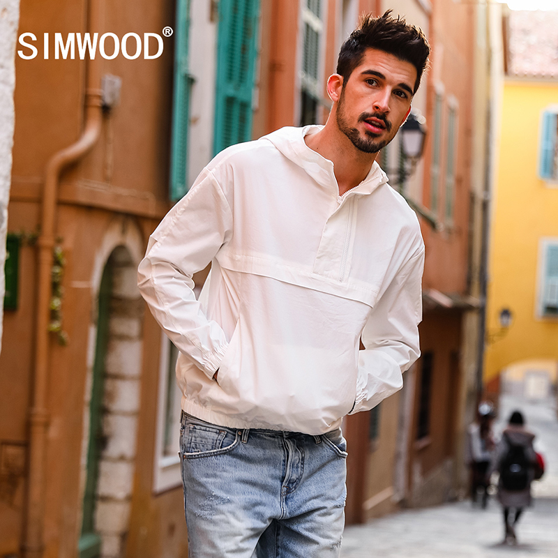 SIMWOOD 2019 herfst Nieuwe Dunne Pull over Jassen Mannen Slim Fit Hooded Windbreaker Witte Jas Plus Size Hoge Kwaliteit 180165-in Jassen van Mannenkleding op  Groep 1