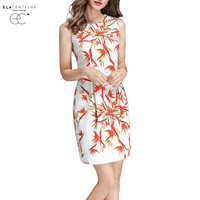 ElaCentelha Fashion New Summer Floral Dress Girls Sleeveless Cute Flowers Printed Bodycon Spring Autumn Knee Length