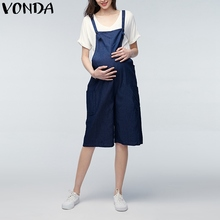 VONDA 2019 Summer Casual Loose Rompers Womens Jumpsuits Maternity Clothings Pregnant Pants Plus Size Pregnancy Trousers Bottoms