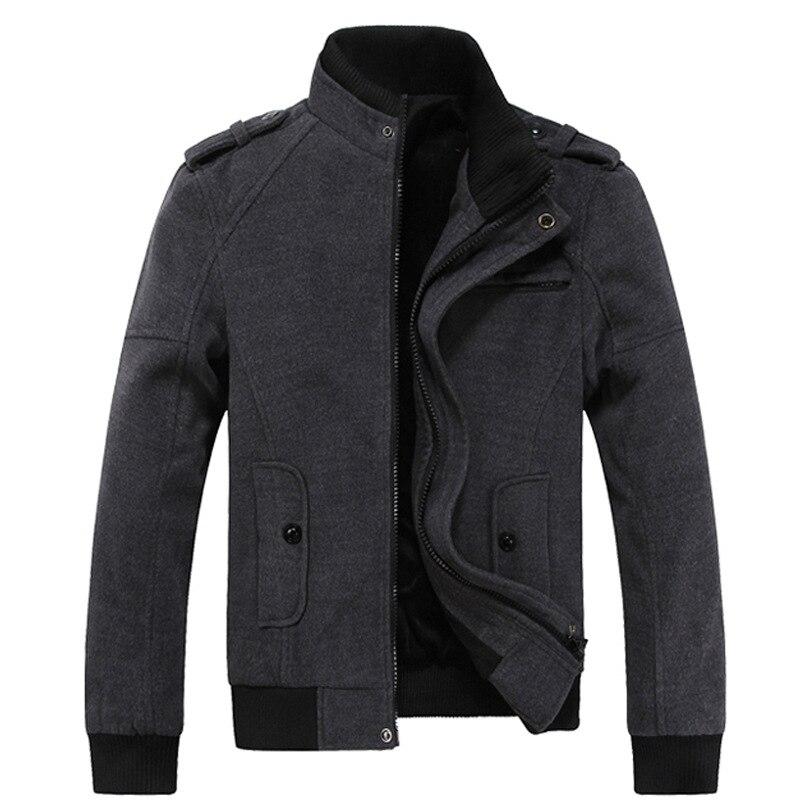 Men Wool Jacket 2017 New Arrival Plus Velvet Warm Casual Jacket Men Stand Collar Slim Woolen Jacket Mens Brand Clothing