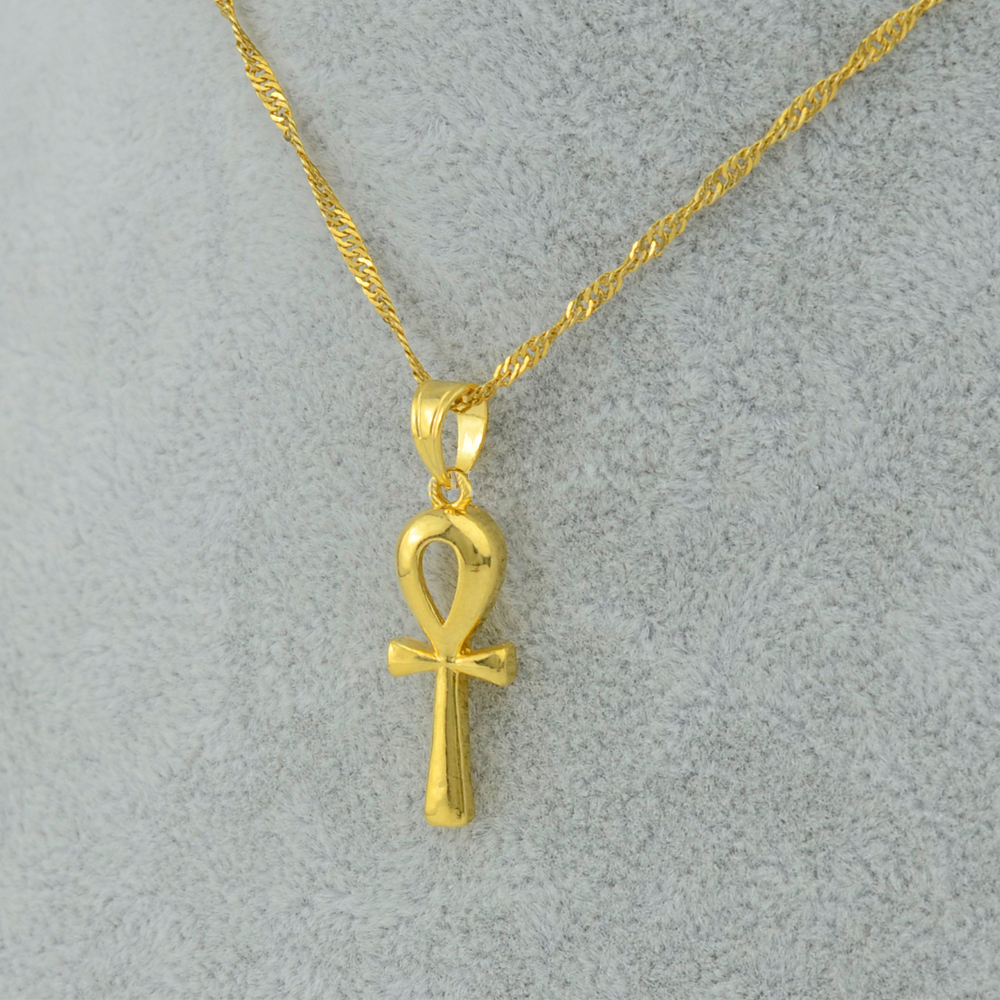 Egyptian Ankh Cross Pendant Necklace Chain Woman,Gold Plateds