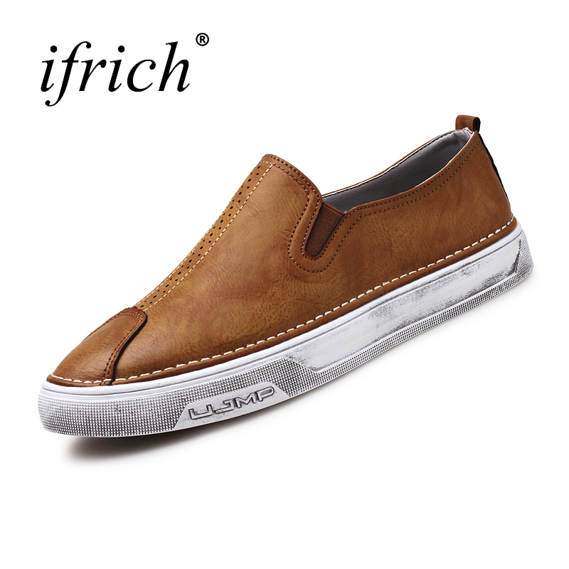 Ifrich Top Quality Leather Casual Shoes Men Slip on Winter Sneakers for Men Gray Black Comfortable Low Top Sneakers original vans black and blue gray and red color low top men s skateboarding shoes sport shoes sneakers
