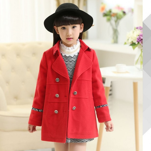 abab5dcd621b New Girls Jacket Winter Wool Fashion Girls Coats Manteau Fille Girls ...