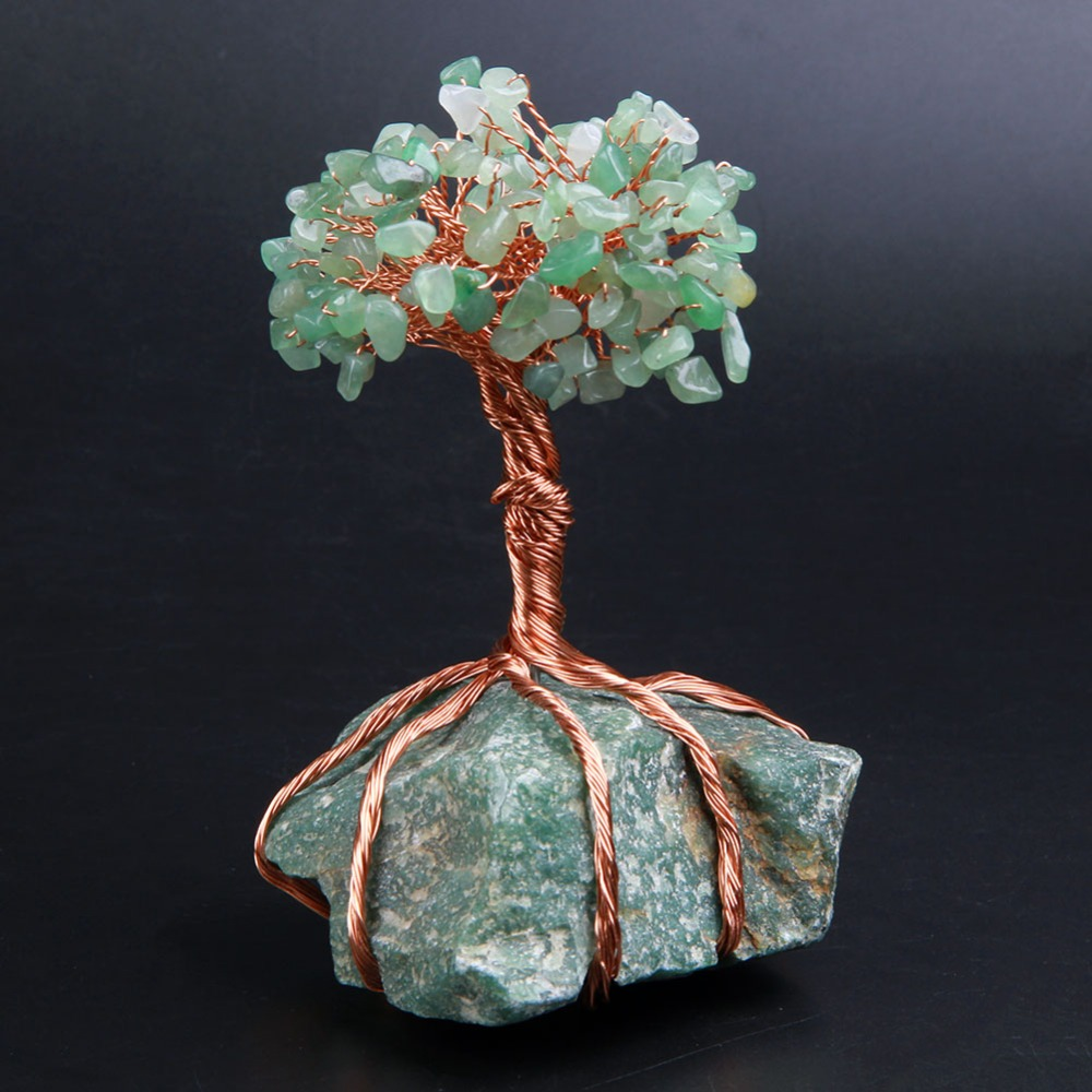 Natural Green Aventurine Stones Crystal Chips Beads Tree of Life with Copper Wrapped Home Decoration Figurine 1pc